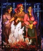 """Mujeres de Luto, 2007, acrylic on canvas, 54"""" x 46"""""""