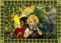 "Niñas en mi Jardin, 2002, oil on canvas, 26"" x 40"""