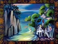 """Nin Fas en la Playa, 2002, oil on canvas, 42"""" x 36"""""""