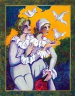 """El Mensaje de las Palomas, 2007, acrylic on canvas, 48"""" x 38"""""""