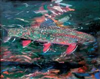 "John Collins, ""Trout in the River,"" 2003, oil, 16"" x 20"""