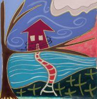 """Meri DeCaria, """"Fragile Existence,"""" 2002, acrylic, 9½"""" x 9½"""""""