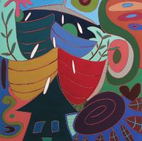 "Meri DeCaria, ""For All,"" 2002, acrylic, 24"" x 24"""