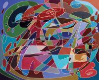 "Meri DeCaria, ""Rapt,"" 2003, acrylic, 23"" x 28"""